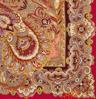 Восточные сладости - шелковый платок с шелковой бахромой.  Бренд.  Артикул.